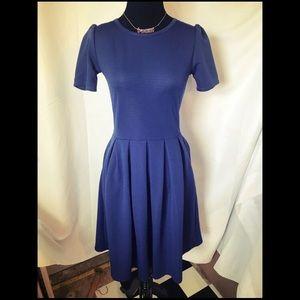 "Navy Blue Lularoe ""Amelia"" Dress with pockets XS"